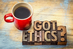 Got ethics question in letterpress wood type Stock Photography