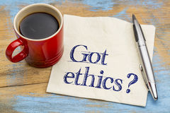 Got ethics? Question on a napkin. Royalty Free Stock Image