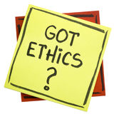 Got ethics? A question on sticky note. royalty free stock image