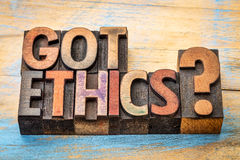Got ethics question in wood type Royalty Free Stock Photography