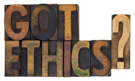 Got ethics?  Vintage wood type. Royalty Free Stock Photo