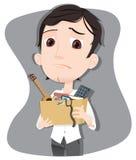 Got fired businessman. Cartoon businessman got fired carrying box with personal stuff Stock Photos