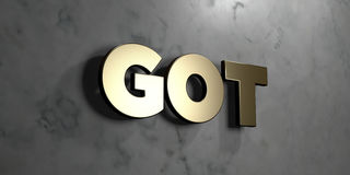 Got - Gold sign mounted on glossy marble wall  - 3D rendered royalty free stock illustration Royalty Free Stock Photography