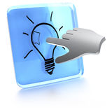 Got an idea. Button with a light bulb in it and a computer hand touching the screen Stock Photography