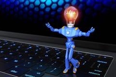 Got idea. Little robot standing on keyboard. 3D illustration Stock Photo