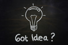 Got idea?. Quote and lightbulb illustration sketched with chalkboard Royalty Free Stock Images