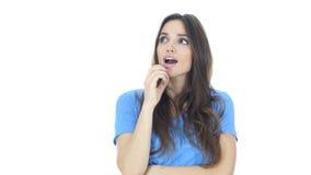 Got an Idea, Thinking Pensive Woman, White Background Stock Photo