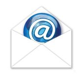 Got Mail. Digital concept of receiving email with @ on world icon stock illustration