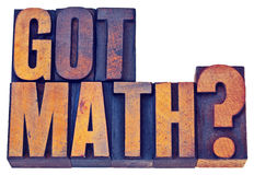 Got math question in wood type. Got math question - isolated text in vintage letterpress wood type printing blocks royalty free stock photo