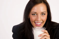 Got Milk Woman Enjoys Getting Drink Mustache  Royalty Free Stock Photography