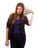 Got money. Businesswoman with a money fan isolated over a white background Royalty Free Stock Images