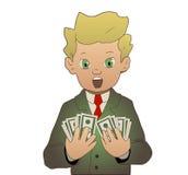 Got money. Vector illustration of a businessman who got a lot of money stock illustration