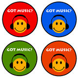 Got music. Colorful icons for happy music listeners royalty free illustration