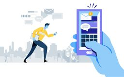 Got new e mail. notification alert. smartphone application. online connection. send message. social media. worker, businessman. Flat cartoon illustration stock illustration