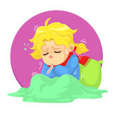 Got Sick. A girl get illness and need some rest Royalty Free Stock Photos