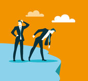 We got to the precipice to the impasse. Look down. Vector illustration Stock Image