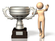 He got the trophy proudly. Royalty Free Stock Images