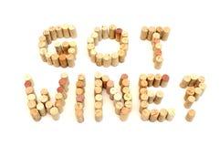 Got Wine. Wine Corks spelling Got Wine stock photography