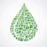 A gota da água é projeto com ícones da natureza do eco ilustração do vetor
