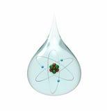 Gota da água com átomo do lítio Fotos de Stock