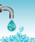 Gota da água com globo da terra ilustração stock