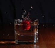 Gota de la fresa Foto de archivo libre de regalías