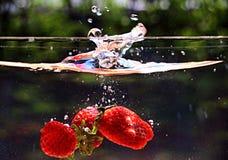 Gota de la fresa al agua Fotografía de archivo