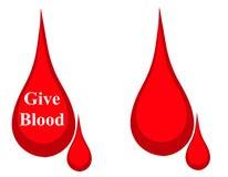 Gota de la insignia de la donación de sangre ilustración del vector
