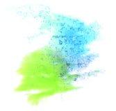 Gota del verde azul de la pintura de la tinta de la acuarela del arte Fotos de archivo libres de regalías