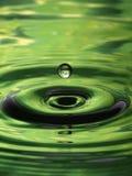 Gota del verde del modelo de la ondulación de la gotita de agua sola Fotos de archivo libres de regalías
