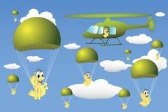 Gota do helicóptero do dinheiro ilustração royalty free