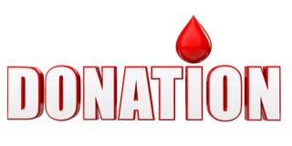 gota do sangue 3d e texto da doação Foto de Stock Royalty Free