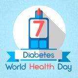 Gota do sangue do dia de saúde de mundo do diabetes de Glucometer do nível da glicose Imagens de Stock