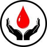 Gota do vetor no ícone das mãos Imagens de Stock Royalty Free