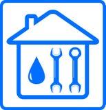 Gota e chave da água na casa ilustração royalty free