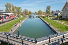 Gota kanal under våren i Sverige Arkivbilder