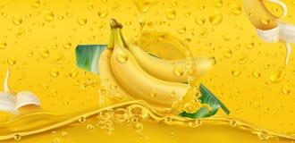 Gotas amarelas Banana, fruta tropical vetor 3d fotos de stock