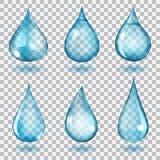 Gotas azuis transparentes Imagens de Stock Royalty Free