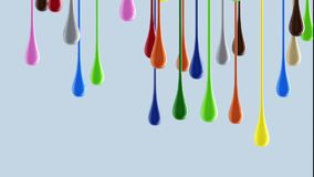 gotas brillantes coloridas multicoloras de la pintura 3D que gotean abajo Imagen de archivo