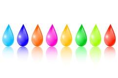 Gotas coloreadas stock de ilustración