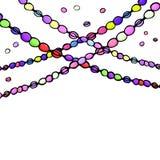 Gotas coloreadas del carnaval del carnaval, ejemplo del vector del amanecer de la mano, fondo blanco Fotografía de archivo