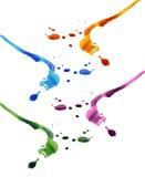 Gotas coloridas da tinta Imagens de Stock