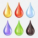 Gotas coloridas Espirra da pintura que as ilustrações realísticas líquidas do vetor molham gotas ilustração do vetor