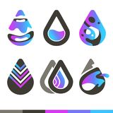 Gotas da água Ícones do vetor ou moldes frescos do logotipo ilustração stock