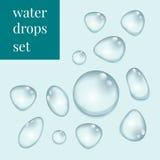 Gotas da água ajustadas Fotografia de Stock Royalty Free