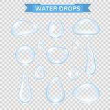 Gotas da água As gotas realísticas da chuva da água ajustaram-se isolado no fundo transparente Bolhas puras da água do vetor na j ilustração royalty free