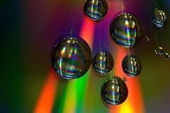 Gotas da água no CD Foto de Stock Royalty Free