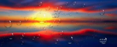 Gotas da água no vidro Mar, céu Nuvens Por do sol Fotos de Stock