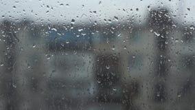 Gotas da chuva em uma placa de janela, construções no fundo video estoque