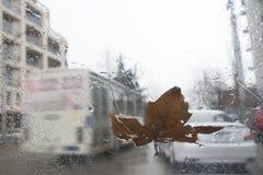 Gotas da chuva no fundo de vidro Luzes de Bokeh da rua fora de foco Autumn Abstract Backdrop Dias chuvosos Fotografia de Stock